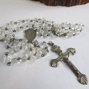 Antique Sterling Rock Crystal Rosary Necklace